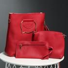 Сумка женская 3 в 1 на молнии, 1 отдел, длинный ремень, косметичка, кошелёк, цвет красный