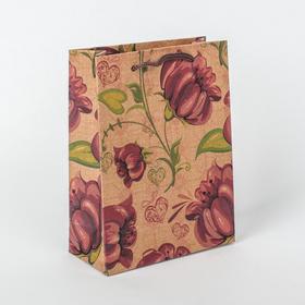 """Пакет крафт """"Яркий цветок"""", 11 х 5,5 х 14,5 см"""
