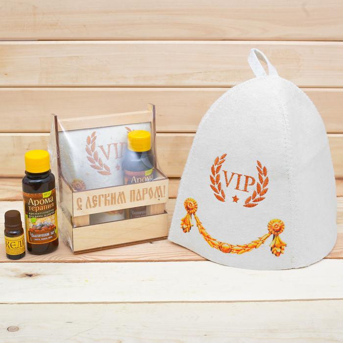 """Банный набор в ящике """"С лёгким паром"""": шапка, аромамасло и ароматизатор"""