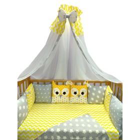 """Комплект в кроватку (22 предмета) Incanto, универс. """"Совушки"""", жёлтый, хлопок 100%"""