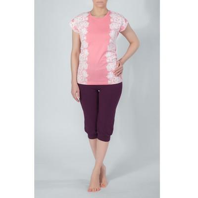 Комплект женский (футболка, бриджи) 436 цвет персиковый/бордовый, р-р 46