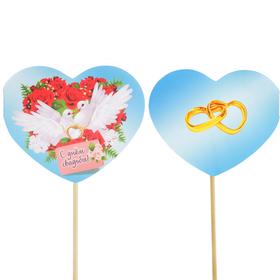 Топпер - открытка 'С Днём Свадьбы' голуби, розы Ош
