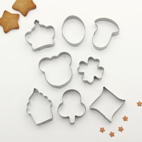 """Набор форм для вырезания печенья 14x14 см """"Мишка ,корона, клевер, гриб, овал"""", 8 шт"""