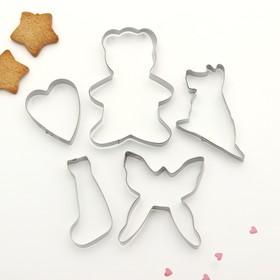 """Набор форм для вырезания печенья 19х13 см """"Бабочка, сердце, мишка, собака"""", 5 шт"""