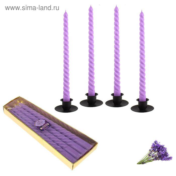 Свечи восковые витые (набор 4 шт), аромат лаванда