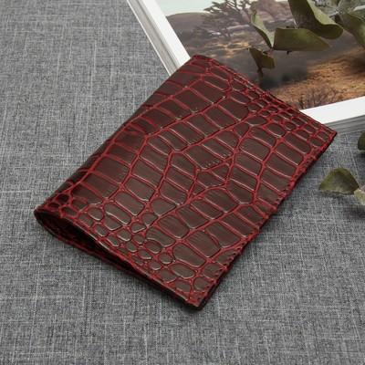 Обложка для паспорта, 5 карманов для карт, крокодил, цвет винный