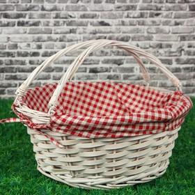 Корзина плетеная, красная ткань, 38х38х16 см, ива