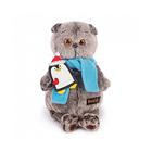 """Мягкая игрушка """"Басик"""" в шарфике и с пингвином, 19 см"""