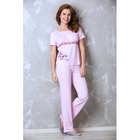Пижама женская (футболка, брюки) 987-08 цвет розовый, р-р 42   вискоза