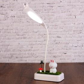 """Лампа настольная сенсор 2 режима LEDх15 6W USB АКБ """"Зайка на лужайке"""" 46,5х15х8 см"""