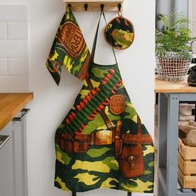 "Кухонный набор 3 пр. ""Генерал кухни"" фартук 60х70 см, прихватка 20х20 см, полотенце 35х60 см"