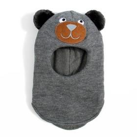 """Шлем-капор зимний для мальчика """"Мишка"""", размер 48-50 см, цвет серый 548"""