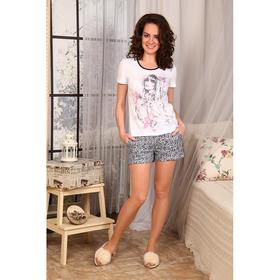 Комплект женский (футболка, шорты) 652 цвет белый/серый, р-р 54