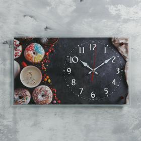 """Часы настенные прямоугольные """"Пончики"""", 36х60 см"""