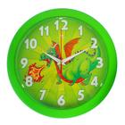 """Часы настенные круглые """"Дракоша огнедышащий"""", зеленое кольцо, 23х23 см"""