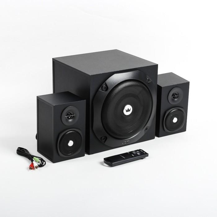 Акустическая система 2.1 CROWN CMS-3801, 2 х 10 Вт + 20 Вт, MP3, FM, пульт, 220 В, чёрный