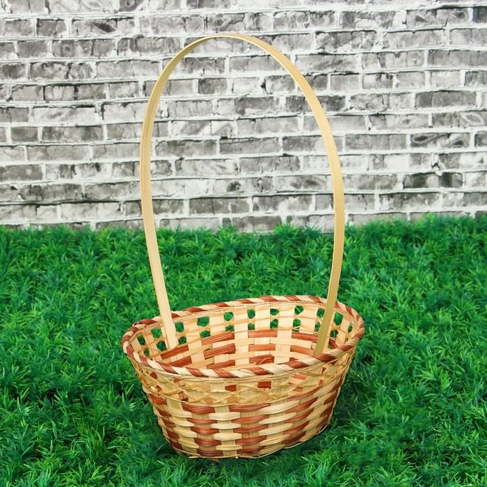 Корзина плетёная, овальная, бело-коричневая, бамбук, средняя