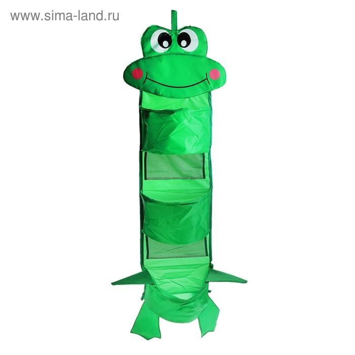 """Кармашки на стену """"Лягушка"""" (3 отделения), цвет зеленый"""