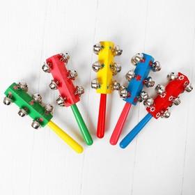 Погремушка с колокольчиками и ручкой, цвета МИКС