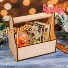Кашпо подарочное со свечами и топперами №4