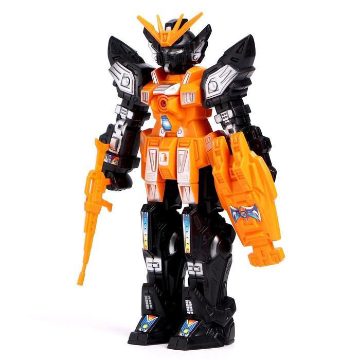 Робот-трансформер, со световым эффектом, работает от батареек, цвета МИКС