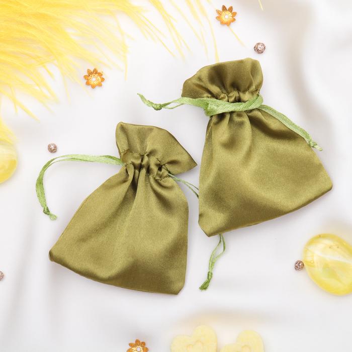 Мешочек подарочный атласный, 7*9 см, цвет оливковый