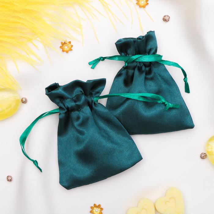 Мешочек подарочный атласный, 7*9 см, цвет изумрудный
