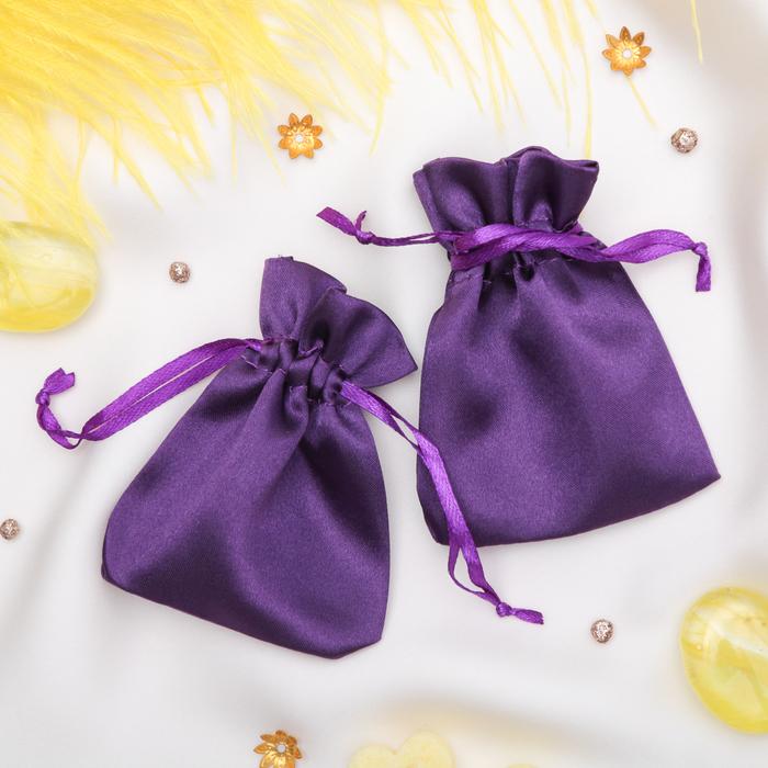 Мешочек подарочный атласный, 7*9 см, цвет фиолетовый