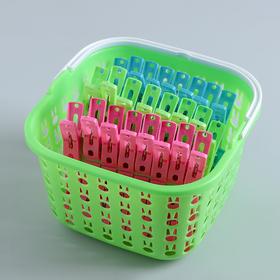 Прищепки в корзинке 18х18х11 см, 48 шт (5 см), цвет МИКС