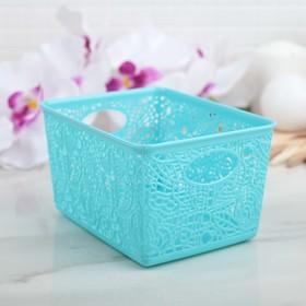 """Корзина для хранения """"Кружевные цветы"""", цвет голубой"""