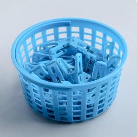 Прищепки в корзинке 15х15х7 см, 24 шт (5 см), цвет МИКС