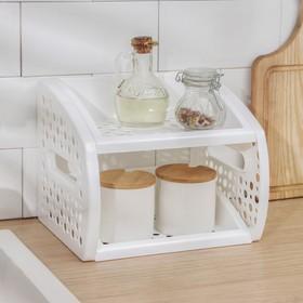 Этажерка настольная 2-х ярусная, цвет розовый Ош