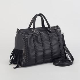 Сумка жен L-1109, 29*12*20, отд на молнии, н/карман, длин ремень, чёрный