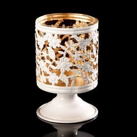 """Подсвечник металл на 1 свечу """"Подсолнухи"""" белый с золотом 13х8х8 см"""