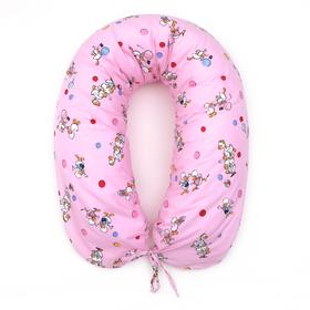 Подушка для беременных 30*190 бязь, на молнии, эко гранулы, сумка, Гуси роз Ош