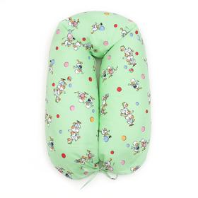 Подушка для беременных 30*190 бязь, на молнии, эко гранулы, сумка, Гуси зел Ош