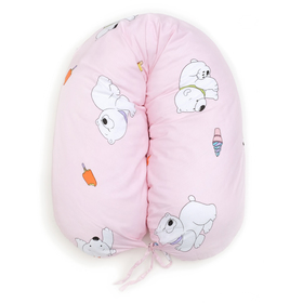 Подушка для беременных 34*170 бязь, на молнии, файбер, сумка, Мишка с мороженым роз Ош