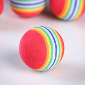Набор мячей для гольфа 6 шт, разноцветный в полоску, мягкий, d=4см Ош