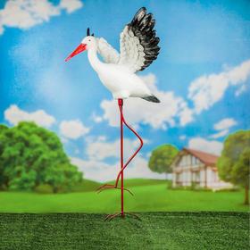 """Садовая фигура """"Аист крылатый"""", средний на металлических ногах, 110 см"""