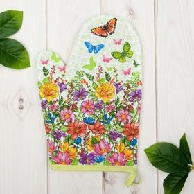 Варежка 'Доляна' Луговые цветы/вид 2, 18х26 см, 100% хлопок, рогожка 162 г/м2 Ош