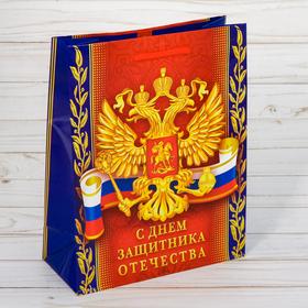 Пакет ламинат вертикальный «С днём Защитника Отечества!», MS 18 х 23 х 8 см