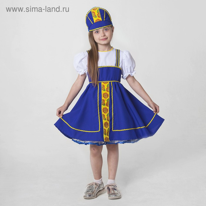Костюм русский народный, платье, кокошник, рост 122-128 см, 6-7 лет, цвет синий