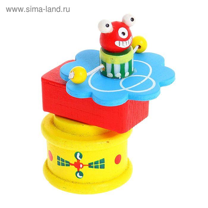 Игрушка деревянная заводная - вертушка, цвета МИКС