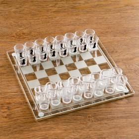 """Пьяная игра """"Пьяные шахматы"""": 32 рюмки, поле 25 × 25 см"""