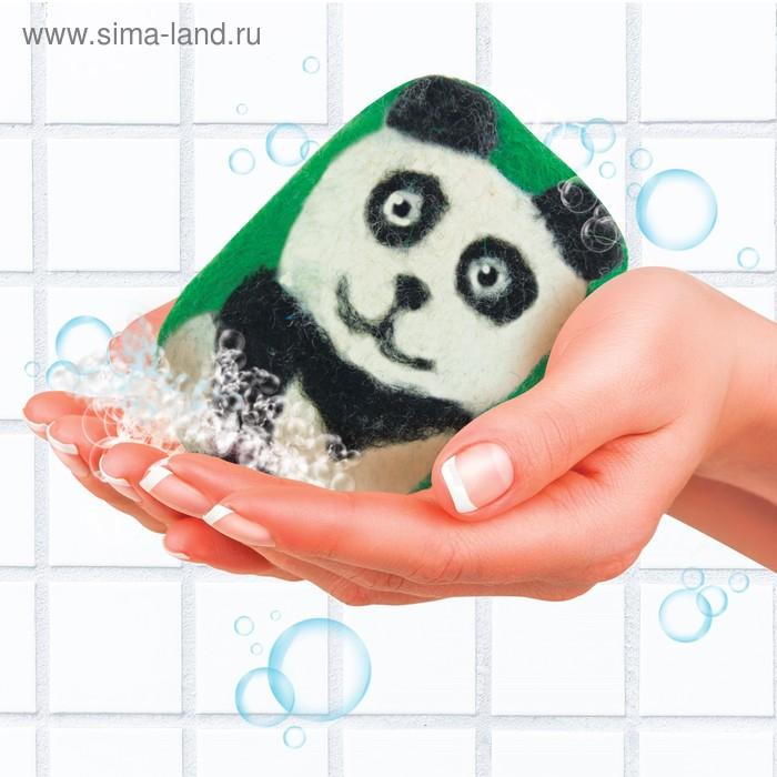 """Мыло-мочалка из шерсти """"Панда"""""""