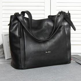 Сумка жен L-6936, 36*15*29, отдел на молнии, н/карман, черный