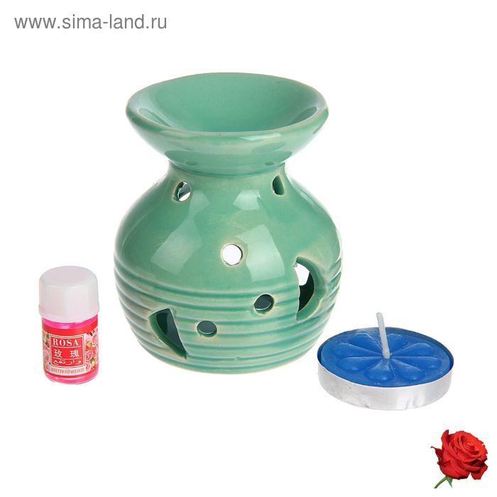 """Набор 3 в 1 (свеча, аромалампа, аромамасло """"Роза"""")"""