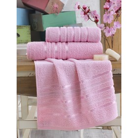 Полотенце Jasmin, размер 70х140 см, цвет розовый, махра 380 г/м2  2184