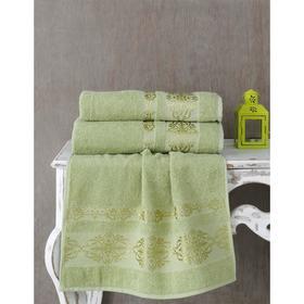 Полотенце Rebeka, размер 70х140 см, цвет тёмно-зелёный, махра 350 г/м2 2658