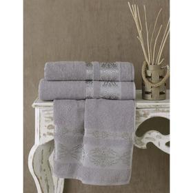 Полотенце Rebeka, размер 70х140 см, цвет серый, махра 350 г/м2 2658